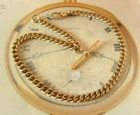 Antique Pocket Watch Chain 1890s Victorian Large 10ct Rose Gold Filled Albert With T Bar (2 of 12)