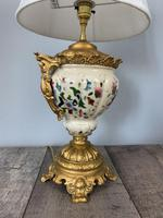 Victorian Gilded Spelter & Ceramic Table Lamp, Rewired & Pat Tested, Shade Included (7 of 10)
