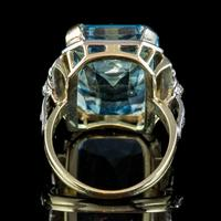 Aquamarine Diamond Cocktail Ring 14ct Gold 14.50ct Scissor Cut Aqua (4 of 8)