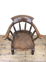 19th Century Ash and Elm Smoker's Bow Chair or Captain's Armchair (6 of 11)
