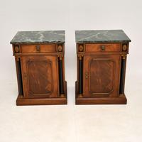 Pair of Georgian Style Marble Top Bedside Cabinets c.1930 (2 of 10)