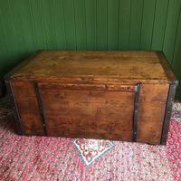 Antique Victorian Bound Campaign Chest Old Rustic Pine Wooden Storage Trunk + Full Zinc Interior + Key (8 of 10)