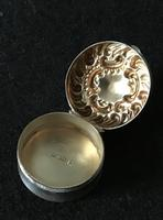 Late Victorian Silver Repousse Top Silver Pill Box (4 of 6)