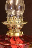 Antique Victorian Cranberry Oil Lamp (3 of 11)