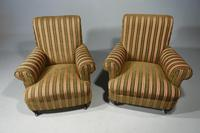 Handsome Pair of Early 20th Century Mahogany Framed Drawing Room Chairs