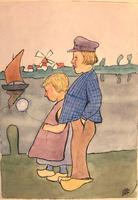 Original watercolour '2 Dutch children and a balloon'. Initialled C.B. (?) c.1910 (2 of 2)