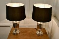 Pair of Large Art Deco Style Chrome Table Lamps with Black Shades (7 of 7)