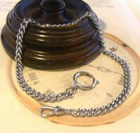 Vintage Pocket Watch Chain 1970s Silver Chrome Curb Link Albert With Bolt Ring Nos