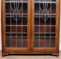 Oak Leaded Stained Glazed Bookcase Arts & Crafts Edwardian (2 of 11)