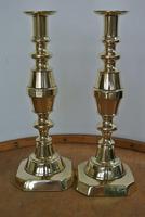 "Rare Set of 4 Large Victorian Brass Candlesticks Through Pushers 12.5"" c.1890 (4 of 7)"