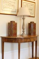 Mahogany Demi Lune side table with tapered legs