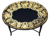 Victorian Decorated Black Lacquer Tray on Stand Coffee Table (6 of 11)