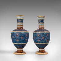 Pair of Antique Decorative Vases, German, Ceramic, Villeroy & Boch, Victorian (2 of 12)