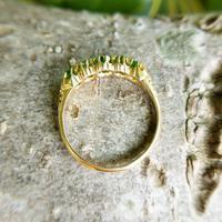 Antique Edwardian Demantoid Garnet Five Stone Ring 1911, Green Garnet (7 of 8)