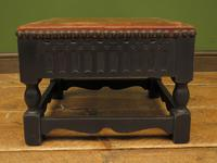 Small Vintage Wooden Black Painted Foot Stool with Brown Leather Top (4 of 17)