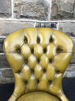 Antique Leather & Mahogany Nursing Chair (2 of 7)