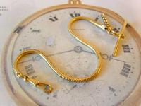 Vintage Pocket Watch Chain 1970s 12ct Gold Plated Snake Link Albert With T Bar (2 of 7)