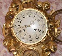 Scandanavian Wall Clock Antique Carved Rococo Giltwood Clocks (4 of 10)