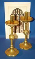 Pair of 19th Century Brass Gothic Church Cnadlesticks, Pierced Orb Detail