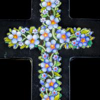 Antique Victorian Micro Mosaic Cross Pendant Forget Me Nots c.1860 Boxed (7 of 7)