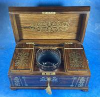 Regency Rosewood Brass Foliate Inlaid Tea Caddy (14 of 15)