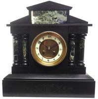 Antique French Slate & Green Marble Mantel Clock Striking 8-day (8 of 9)