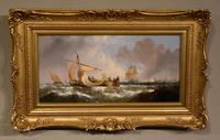"""Oil Painting Pair by William Calcott Knell """"Fishing Boats of the Dutch Coast"""" (2 of 9)"""