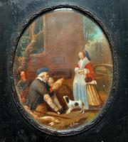 After: Gabriel Metsu (1629-1667) 'The Game Seller' 19thc Miniature Oil Painting (9 of 12)
