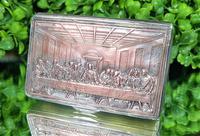 Rare French F Morel Solid Silver Last Supper Scense Lud Snuff Box (11 of 18)