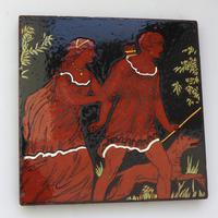 Stunning & Rare Minton Hollins & Co Novelty Polychrome Figural Art Tile 19th Century