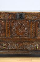 17th Century Oak Carved Coffer with Drawer (5 of 14)