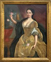 Huge Early 18th Century French Oil Portrait Painting of 'Lucy Webb, Heiress of Ashwick' (2 of 17)