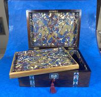 Victorian Rosewood Jewellery Box  With Inlay (15 of 15)