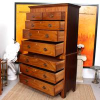 Chest on Chest of Drawers 19th Century Inlaid Mahogany (11 of 11)