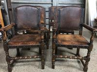 Set of 6 Antique Leather Studded Chairs (2 of 4)