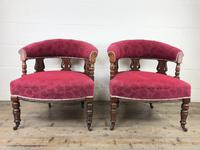 Pair of Victorian Mahogany Upholstered Tub Chairs (2 of 15)