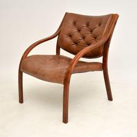 Pair of Scandinavian Bentwood & Leather Vintage Armchairs (8 of 14)