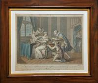 Superb Mahogany Framed Georgian Coloured Engraving of 2 Jukes & Lady Gray c.1803