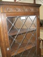 Carved Oak Lead Glazed Corner Cabinet (2 of 3)
