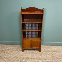 Quality Small Edwardian Figured Mahogany Antique Waterfall Bookcase (4 of 6)