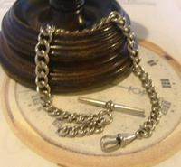 Antique Pocket Watch Chain 1890 Victorian Chunky Silver Nickel Albert With T Bar (2 of 11)