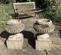 Weathered Reconstituted Pressed Stone Garden Urns (6 of 7)