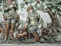 German or Austrian stove or fireplace faience tile with huntsmen & dogs c.1870 (12 of 13)