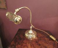 Antique Edwardian Polished Brass Adjustable Desk Lamp (3 of 6)