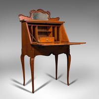 Small Antique Ladies Writing Desk, French, Oak, Bureau, Mirror, Victorian c.1900 (2 of 12)