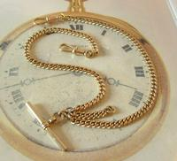 Pocket Watch Chain 1930s 12ct Rose Rolled Gold Double Albert With T Bar (4 of 12)