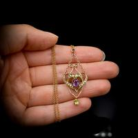 Antique Amethyst Peridot and Pearl Lavalier 9ct 9K Gold Pendant and Chain Necklace (9 of 10)