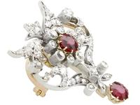2.05ct Ruby & 1.70ct Diamond & 12ct Yellow Gold Brooch - Antique c.1910 (8 of 9)