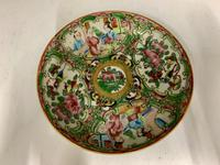 Antique Famille Rose Oriental Porcelain Saucer c.1810 (4 of 5)