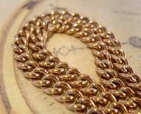 Victorian Pocket Watch Chain 1890s Large 10ct Rose Gold Filled Double Albert & T Bar (5 of 11)